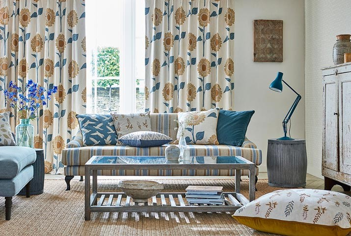 9-fabric-curtains-blue-yellow-upholstery-sunflower-sundial-floral-potting-room-style-library